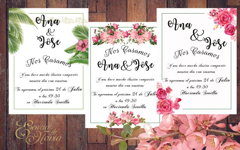 Papelería boda gratis